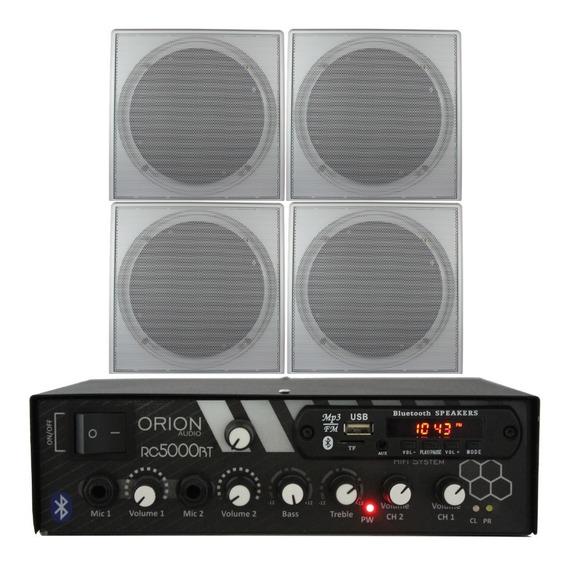 Kit 300w Bluetooth + 4 Caixas Brancas + Cabo P2/rca + Fios