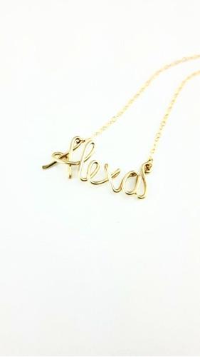 Cadena/collar Acero Nombre En Oro Golfy Personalizado