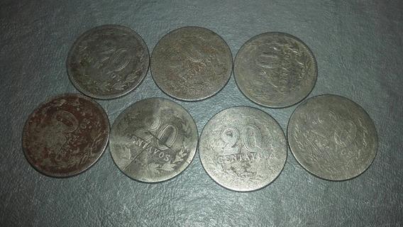 7 Monedas De 20 Centavos Decada 19