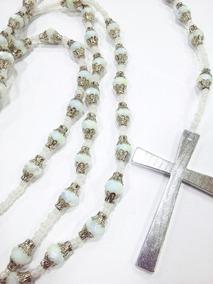 Terço Católico Em Cristais Swaroviski Cruz Metal Liso Noiva