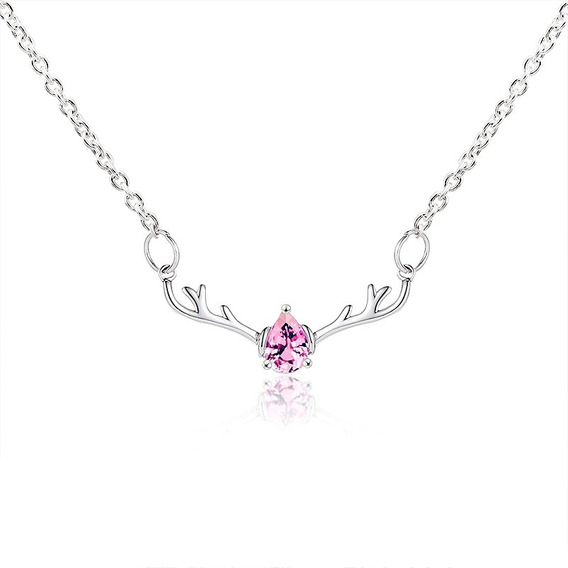 Hermoso Collar Dije Venado Crista Rosa Ideal Para Regalo