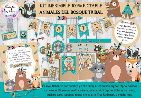 Kit Imprimible Animales Del Bosque Tribal 100% Editable