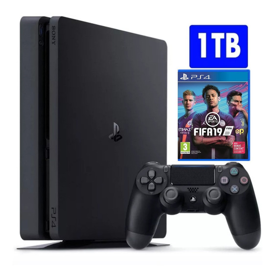 Playstation 4 Ps4 Slim 1000gb + Fifa 19 Midia Fisica