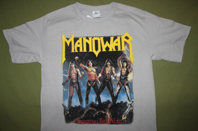 Gusanobass Playera Rock Metal Manowar Heavy Plata M Y L