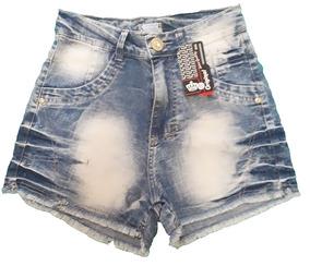 Short Jeans Curto Feminino Hot Pants Cintura Alta Tamanho 40