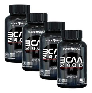 4x Bcaa 2400 100 Tabs (total 400)- Black Skull Caveira Preta