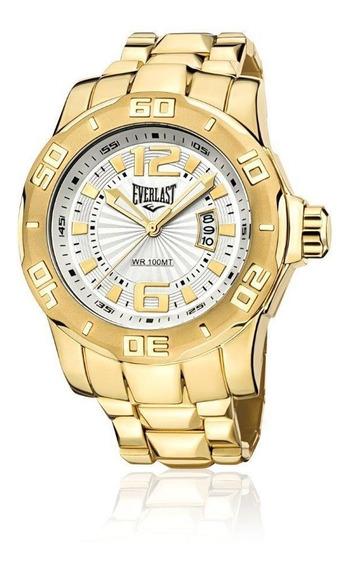 Relógio Pulso Everlast Masculino Calendário Aço Dourado E660