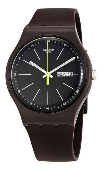 Relógio Swatch Blue Browny Original E Brinde