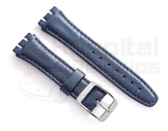 Pulseira Swatch Couro Liso 19mm Azul Irony Clássico