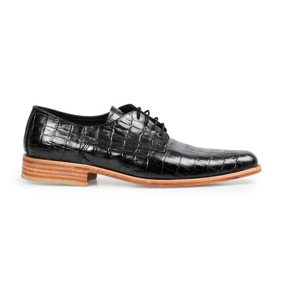 Zapato De Hombre Suela Sport Cuero Cocodrilo Croco Negro