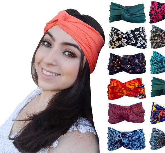 Kit 6 Turbante Faixa Headband Cabelo Estampada Tiara Vintage