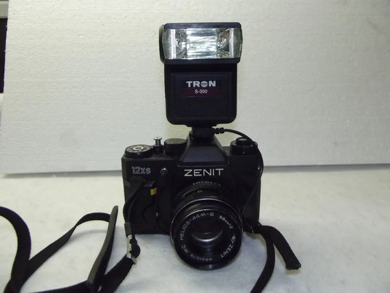 Maquina Analogica Zenit 122k Com Flash Tron S300