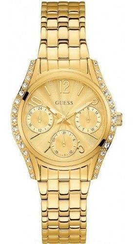Relógio Guess W1020l2 Dourado Original Completo Com Caixa