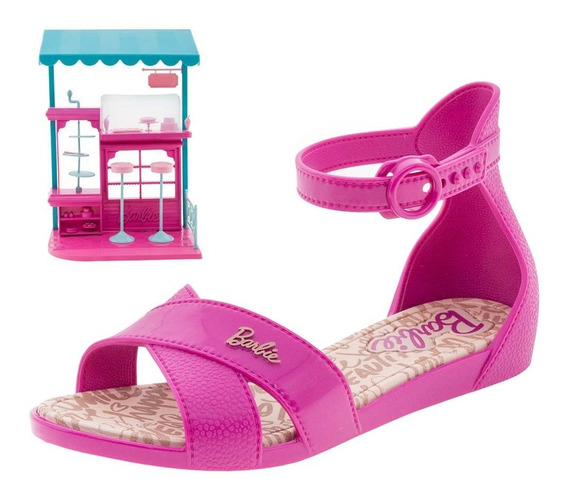 Sandália Infantil Feminina Barbie Confeitaria Pink Grendene