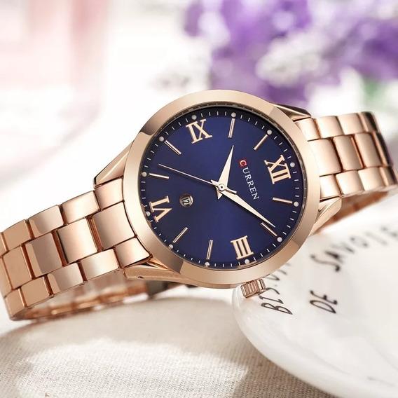 Relógio Feminino Curren Original 9007 - Aço - Á Prova D