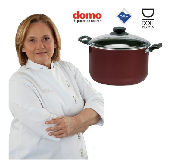 Olla Cacerola 24 Cms Tapa Vidrio Teflon Domo Dolli Irigoyen