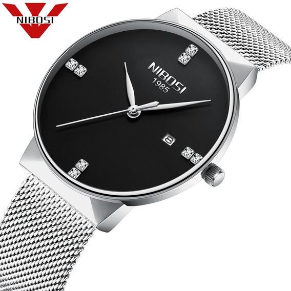 Relógio Nibosi Feminino Prata E Preto Ref. 2323