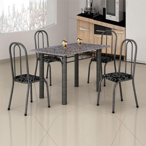 Mesa Atalaia 4 Cadeiras 1,20m Craquelado Dark/preto Floral