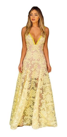 Vestido Longo Festa Madrinha Noiva Casamento Renda Amarelo