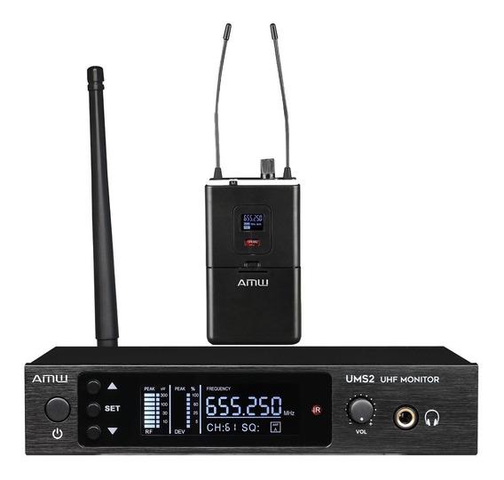 Retorno De Palco Sem Fio In Ear Amw Ums2 Uhf Digital Monitor
