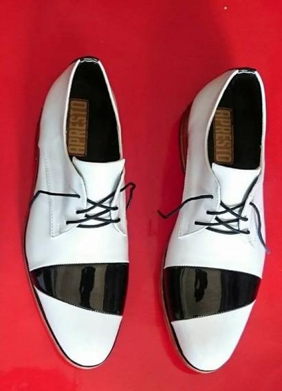 Zapato Hombre De Vestir Charol Cuero De Vaca Blanco Y Negro