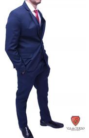 Terno Slim Masculino Oxford Azul Noite- Destaque