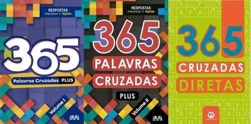 Kit 3 Livros 365 Palavras Cruzadas - São 1095 Desafios!