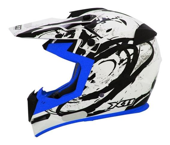 Capacete X11 Atomic Azul Motocross Trilha Promoção