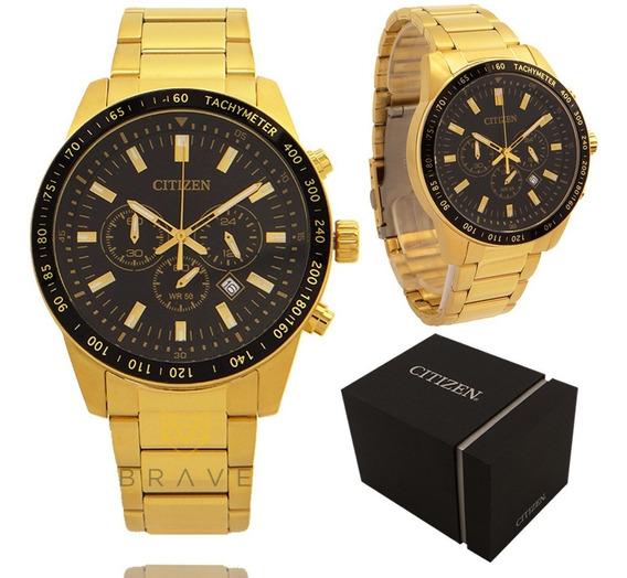 Relógio Masculino Dourado Citizen Ouro 18k Original Garantia