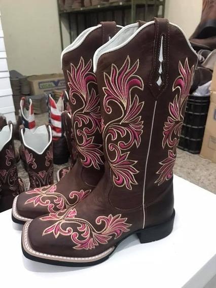 Bota Texana Feminina Bordada Rosa Comitiva 2020