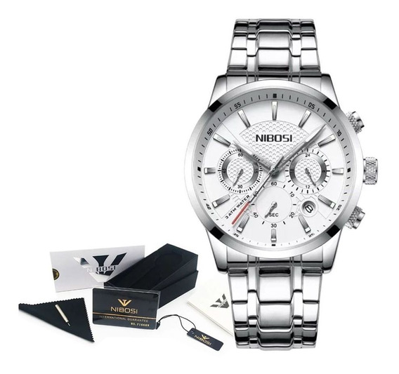Relógio Masculino Preto Aço Inox Barato Original Nibosi 30m