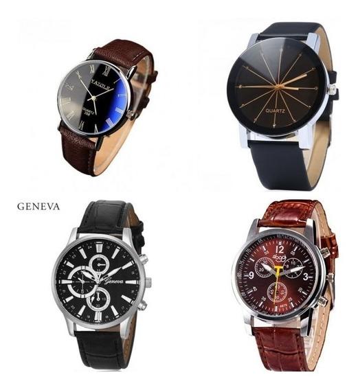 4 Relógio Masculino Yazole Geneva Pulso Barato Romano