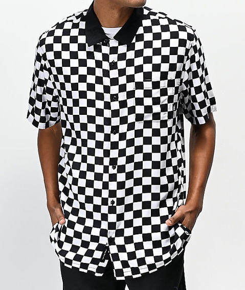 Camisa De Boton Vans Camp Checkerboard Button Up Shirt Negro Blanco Ajedrez Supreme Urban Beach