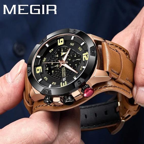 Relógio Masculino Megir Militar P. De Couro Cronógrafo