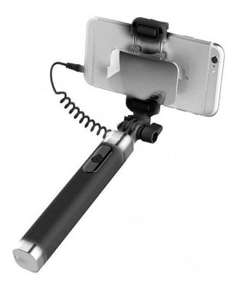 Selfie Stick Rock Com Fio Control & Espelho Ll - 70cm Preto