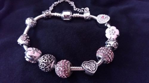 Pulseira Bracelete Tipo Pandora Com Berloques  De Strass 50