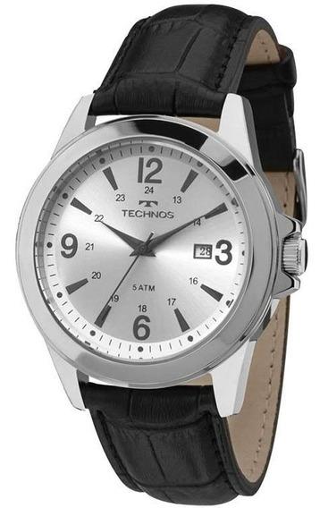 Relógio Technos Masculino Aço Pulseira De Couro Com Garantia