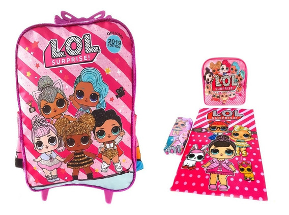 Mochila Kit G Com Rodas Infantil Lol + Toalha De Brinde L3