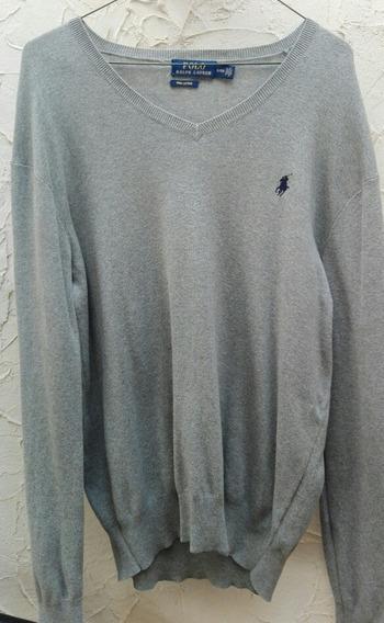 Sweater Polo Ralph Lauren Original Gris Seminuevo Tallachica