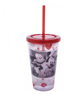 Copo Com Canudo Mickey E Minnie Transparente 450ml Disney