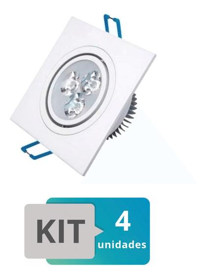 Kit 4 Spot Led Embutir Quadrado Direcionável 3w Branco Frio