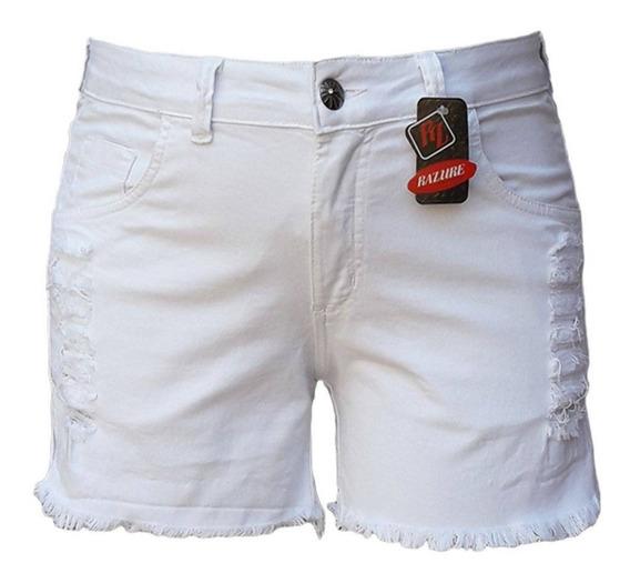 Short Feminino Branco Rasgado Plus Size Tamanhos 46 Ao 60