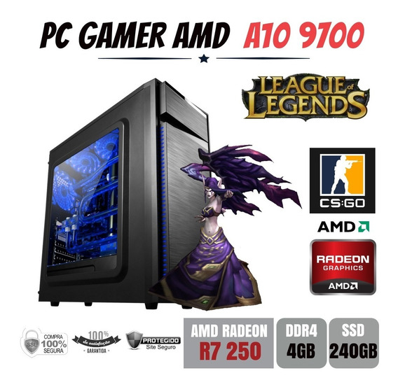 Pc Gamer Bg023 Amd A10 9700 4gb Ddr4 R7 250 Apu Ssd240gb