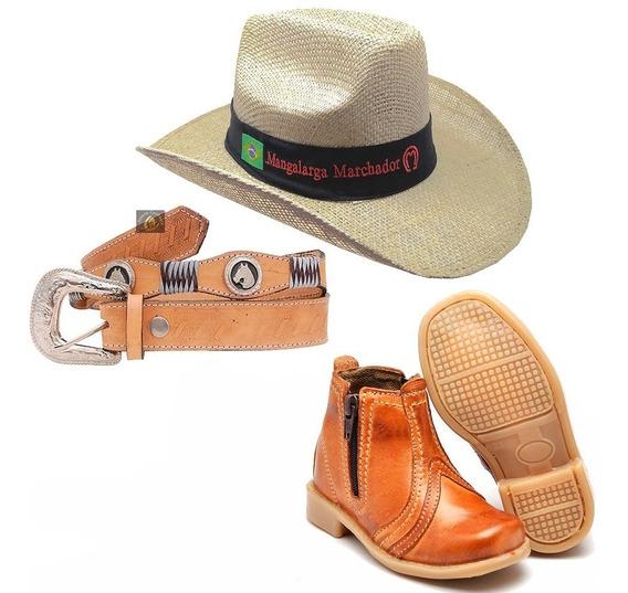 Kit Botina Bota Country Infantil + Cinto Cowboy + Chapéu