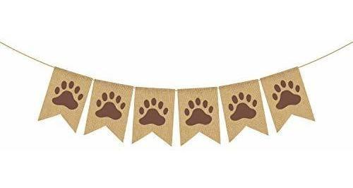 Rainlemon Yute Arpillera Puppy Paw Banner Rústico Perro Niño