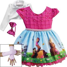 Vestido Masha E O Urso Festa Infantil Com Tiara Luvas Bolero
