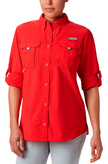 Camisa Columbia Pesca Bahama Mujer Rojo
