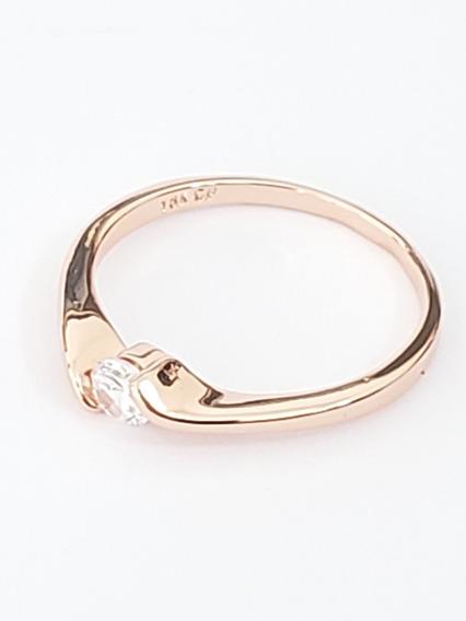 Anillo Oro Rosa 18 K De Compromiso Cristal Swarovski