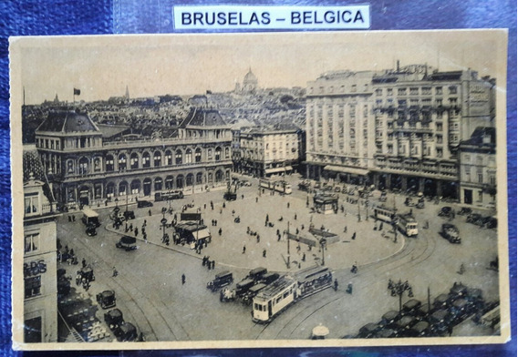 Antigua Postal De Bruselas Bélgica Con Tranvias