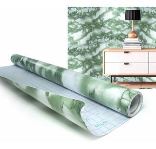 Papel De Parede Marmore Verde Rolo Vinil Decorativo Autoad